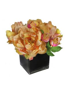 Orange Peony and Pink Rose