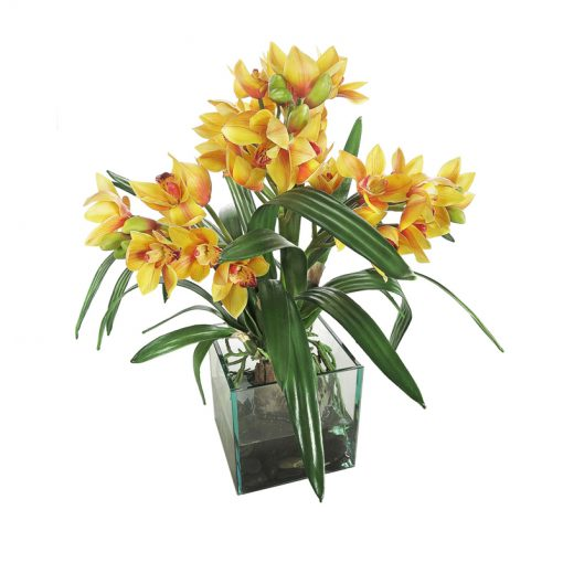 Yellow Orchid with Orange Pistil
