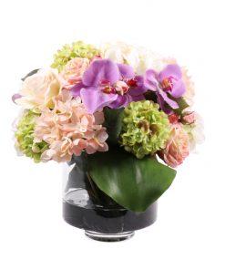 Mixed hydrangea, cymbidium orchid and roses