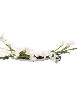 Calla lilies on silver look vase