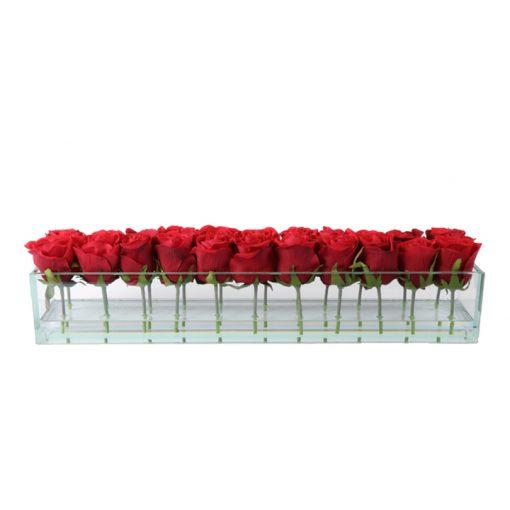 Red roses rectangular glass vase