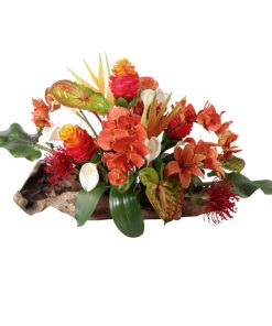 Tropical mix of anthurium, tiger-lily, torch-ginger, birds of paradise, and protea