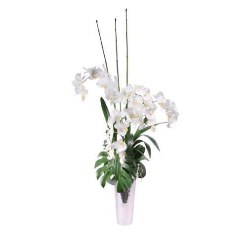 White orchid monstera leaves in silver lookvase
